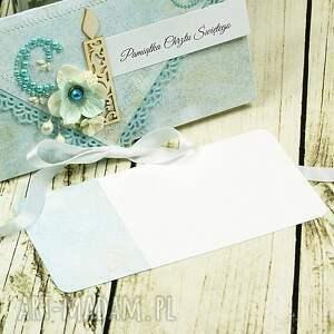 turkusowe scrapbooking kartki chrzest pamiątka chrztu świętego