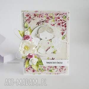 kartka scrapbooking kartki różowe pamiątka chrztu św - 465