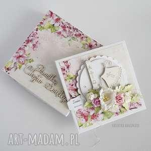 różowe scrapbooking kartki chrzciny pamiątka chrztu św