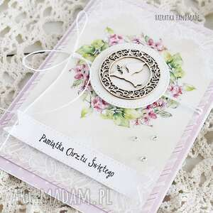 różowe scrapbooking kartki kartka pamiątka chrztu świętego, 459