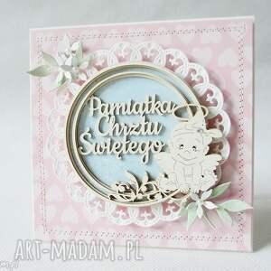 białe scrapbooking kartki chrzest pamiątka chrztu - w pudełku