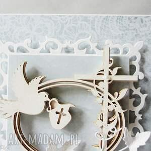 białe scrapbooking kartki pamiątka chrztu - w pudełku