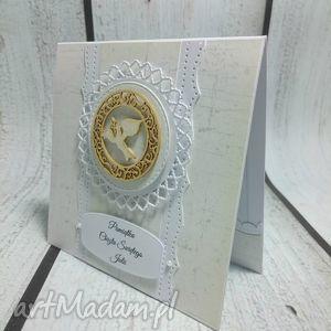 unikalne scrapbooking kartki chrzest pamiątka chrztu świętego w bieli