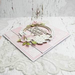 pamiątka chrztu scrapbooking kartki różowe wyjątkowa i delikatna kartka z okazji