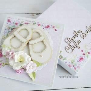 różowe scrapbooking kartki chrzest pamiątka chrztu świętego