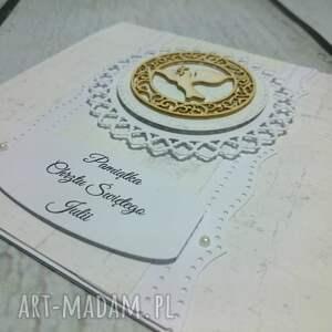 białe scrapbooking kartki chrzest pamiątka chrztu świętego w bieli