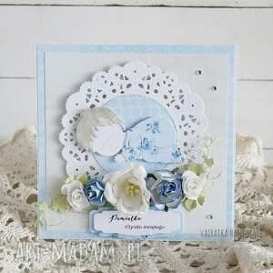 chrzciny scrapbooking kartki niebieskie pamiątka chrztu św - kartka