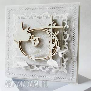modne scrapbooking kartki pamiątka chrztu - w pudełku