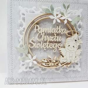 oryginalne scrapbooking kartki życzenia pamiątka chrztu - w pudełku
