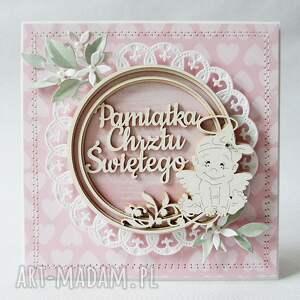 pamiątka scrapbooking kartki różowe chrztu - w pudełku