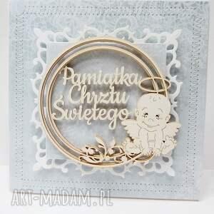 chrzest scrapbooking kartki białe pamiątka chrztu - w pudełku