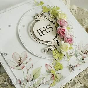 różowe scrapbooking kartki komunia pamiątka i komunii św. w pudełku