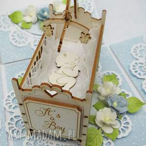 pudełko-chrzest scrapbooking kartki niebieskie pamiątkowe pudełko na chrzest