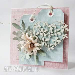 różowe scrapbooking kartki życzenia pastelowa kartka w pudełku