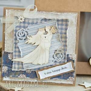niebieskie scrapbooking kartki prezent ślubny piękna rustykalna kartka ślubna