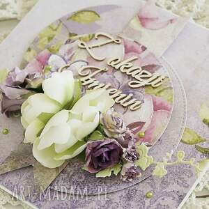 scrapbooking kartki kartka imieninowa w eleganckich fioletach
