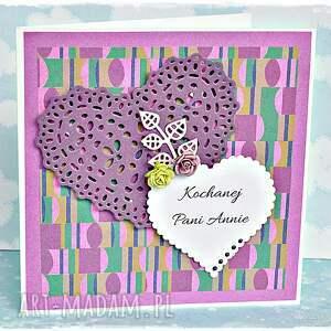 fioletowe scrapbooking kartki gratulacje podziękowania/gratulacje