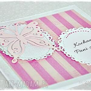różowe scrapbooking kartki kartka prezent dla nauczyciela - motyle