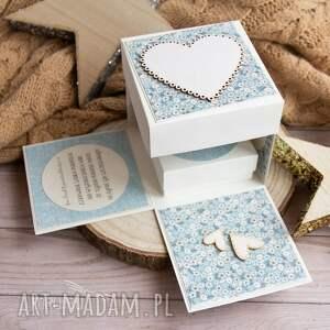 ślub scrapbooking kartki białe przepiękne eksplodujące pudełeczko