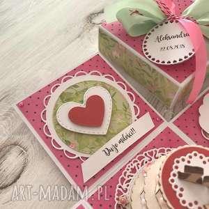 różowe scrapbooking kartki kartka pudełko eksplodujące - na
