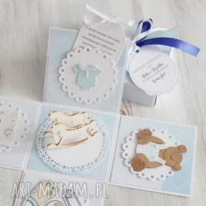 eleganckie scrapbooking kartki prezent pudełko - kartka na chrzest lub
