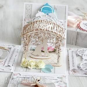 wesele-upominek scrapbooking kartki pudełko - kartka z życzeniami