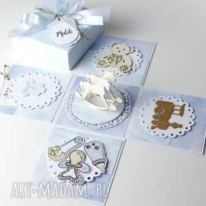 Po Godzinach scrapbooking kartki: Pudełko - kartka - prezent z okazji narodzin dla chłopca - narodziny roczek