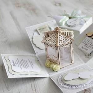zielone scrapbooking kartki wesele pudełko - kartka na ślub