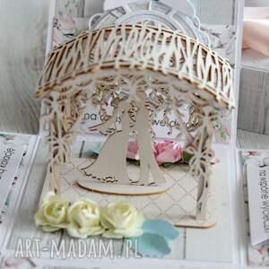 scrapbooking kartki wesele-upominek pudełko - kartka z życzeniami