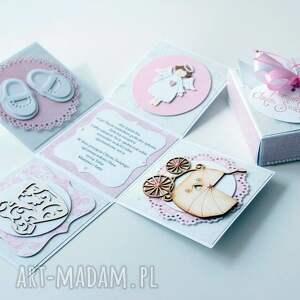 różowe scrapbooking kartki kartka pudełko - niespodzianka dla