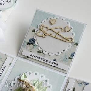 białe scrapbooking kartki pudełko - niespodzianka na ślub