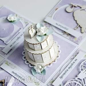ręcznie zrobione scrapbooking kartki ślub pudełko - niespodzianka na