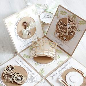 unikalne scrapbooking kartki wesele pudełko z niespodzianką - kartka