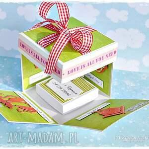 zielone scrapbooking kartki box radosne życzenia ślubne -