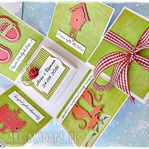 exploding scrapbooking kartki czerwone radosne życzenia ślubne - box