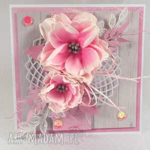 niepowtarzalne scrapbooking kartki kartka różowa