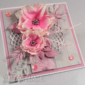 niepowtarzalne scrapbooking kartki różowa