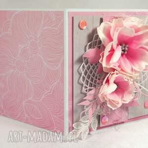 kartka scrapbooking kartki różowe różowa