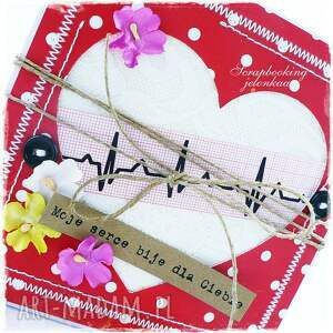scrapbooking kartki miłość serce ekg - kartka