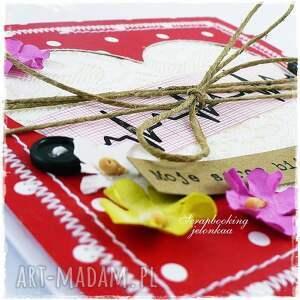 miłość scrapbooking kartki serce ekg - kartka
