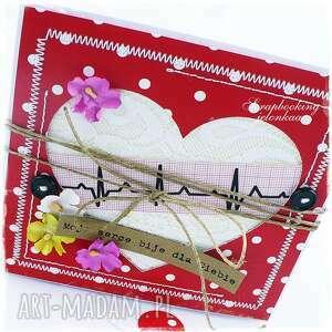 eleganckie scrapbooking kartki miłość serce ekg - kartka