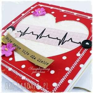 serce scrapbooking kartki czerwone ekg - kartka