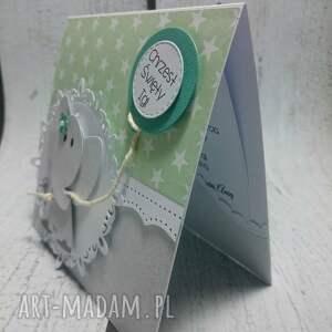 scrapbooking kartki chrzest słonik z balonem w zieleni