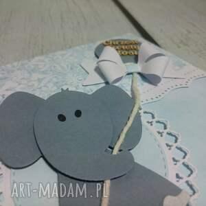szare scrapbooking kartki pamiatka słonik z kokardą