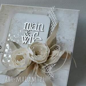 hand-made scrapbooking kartki zaproszenie ślubna elegancja - w pudełku