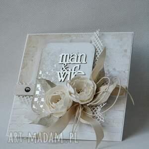 scrapbooking kartki zaproszenie ślubna elegancja - w pudełku