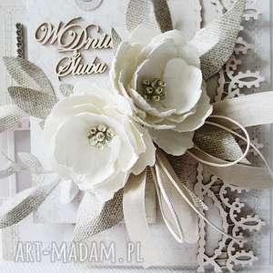 ręcznie robione scrapbooking kartki gratulacje ślubna elegancja - w pudełku