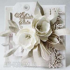 beżowe scrapbooking kartki życzenia ślubna elegancja - w pudełku
