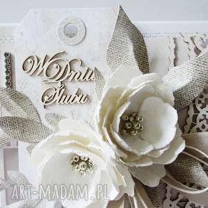 scrapbooking kartki gratulacje ślubna elegancja - w pudełku