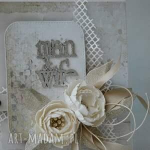zaproszenie scrapbooking kartki ślubna elegancja - w pudełku